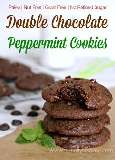Double Chocolate Peppermint Cookies (Paleo, Nut Free) from Primally Inspired paleo dessert quick Cookies Sans Gluten, Dessert Sans Gluten, Paleo Cookies, Paleo Dessert, Dessert Recipes, Nut Free Cookies, Real Food Recipes, Yummy Food, Disney Recipes