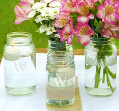 Personalized Mason Jar Vases - Such a charming idea for wedding centerpieces!