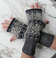 pure Shetland wool fingerless gloves in vintage snowflakes. $27.00, via Etsy.