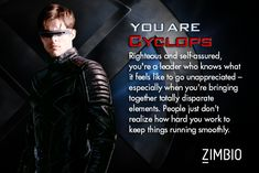 I took Zimbio's 'X-Men' personality quiz and I'm Cyclops. Who are you? #ZimbioQuiznull - Quiz
