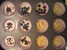 busy mom puffins (pancake muffins) preheat oven to 350, mix 1 c pancake mix, 2/3 c water, 1/2 c syrup. mix together, pour in greased muffin pan. top with banana, blueberries, chocolate chips....etc.  bake for 12-14 minutes and serve.  easy, fast, delicious & no syrupy mess!!
