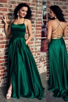 Dark Green Prom Dresses Lace Up Back Satin Split Evening Gowns - Dark Green Prom Dresses Lace Up Back Satin Split Evening Gowns Dark Green Prom Dresses, Open Back Prom Dresses, Green Gown, Grad Dresses, Green Satin, Ball Dresses, Banquet Dresses, Prom Outfits, Chiffon Dresses