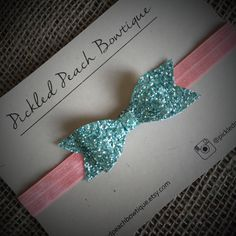 Mint Glitter Bow on Coral Elastic Mint by pickledpeachbowtique