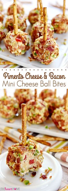 Pimento Cheese and Bacon Mini Cheese Ball Bites ~ Mini cheese balls of homemade pimento cheese are rolled in a coating of crispy bacon, toasted pecans, and minced fresh jalapeños and then speared with a pretzel stick for fun, easy-to-eat appetizers, perfect for game day or any get-together!   FiveHeartHome.com
