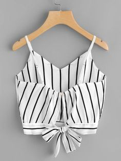 Shop Striped Split Tie Back Crop Cami Top online. SheIn offers Striped Split Tie Back Crop Cami Top & more to fit your fashionable needs. Cami Tops, Cami Crop Top, Summer Outfits, Casual Outfits, Cute Outfits, Tween Fashion, Fashion Outfits, Fashion Trends, Mode Ulzzang