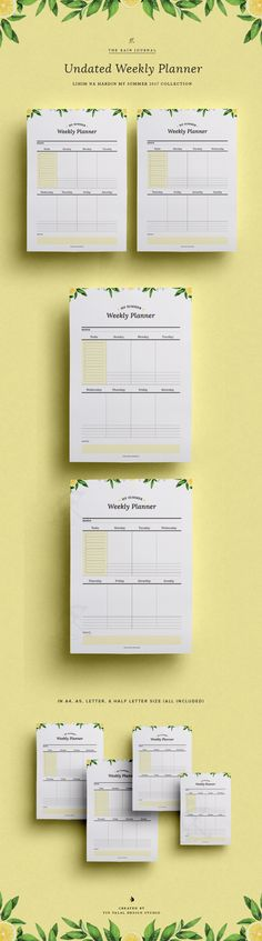 Undated Weekly Planner Printable - Printable Planner. Weekly Organizer. Weekly Planner Printable. Available in A4, A5, Letter & Half Letter. Fit for Kikki K Large and A5 Filofax | Blog Planner, Wall Planner, Desk Planner & Planner Insert. The Rain Journal Printable Planners. Life Planner
