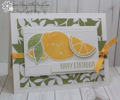 I used the Stampin' Up! Lemon Zest stamp set bundle to create my card for the Fab Friday sketch challenge this week.