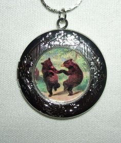 DANCING BEARS Locket NECKLACE Pendant Altered Art