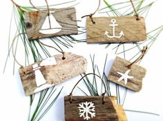Set of 5-Nautical Christmas Ornaments-Beach Ornaments-Wooden Christmas Ornaments-Reclaimed Wood Ornaments-Hand Painted Christmas Decoration on Etsy, $19.50