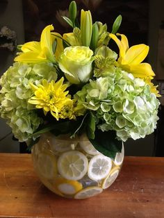 Lemon Lilly Bowl Floral Arrangement - Garden World Florist