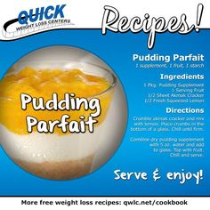 Indulge in a sweet treat with this delicious Pudding Parfait recipe from Quick Weight Loss Centers!  Find more weight loss recipes at http://quickweightloss.net/recipes  #qwlc #weightloss