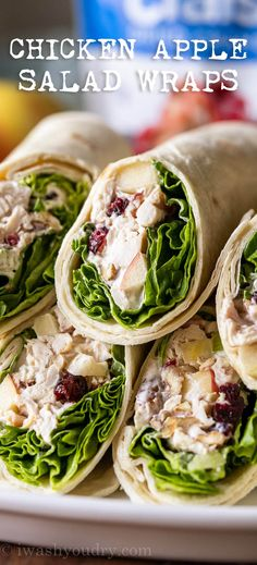 These quick and easy Chicken Apple Salad Wraps are filled with shredded chicken, diced apples and crunchy pecans in a creamy, simple dressing. Shredded Chicken Sandwiches, Slow Cooker Shredded Chicken, Chicken Bacon Ranch Wrap, Chicken Wraps, Chicken Salad Dressing, Salads Up, Summer Salads, Salad Wraps, Lettuce Wraps