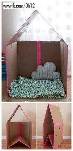 easy-to-store, foldable cardboard playhouse, so cute!
