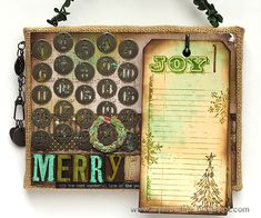 Layers of ink - Christmas Countdown Calendar Tutorial by Anna-Karin. The tags serve a double purpose. Made with Tim Holtz holiday products.