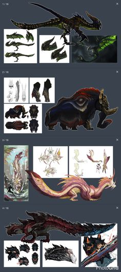 The Four Elite Monsters - Monster Hunter X (Generations) Curious Creatures, Weird Creatures, Fantasy Creatures, Mythical Creatures, Monster Hunter Series, Monster Hunter Art, Monster Art, Monster Concept Art, Fantasy Monster
