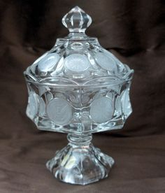 Fostoria Clear Coin Glass Compote with Lid by ogdenlane on Etsy, $179.50
