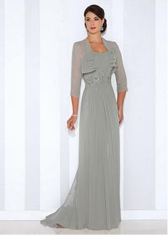 Buy discount Elegant Chiffon Strapless Sheath Mother of the Bride Dresses With Beaded Lace Applqiues at Dressilyme.com