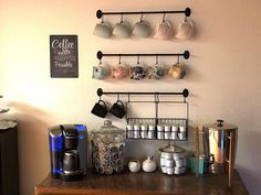 The Lakeside Collection Wall Rack for Coffee Mugs, Tea Cups with Industrial Pipe Style - 6 Pieces Coffee Mug Storage, Coffee Cup Rack, Coffee Mug Display, Coffee Mug Holder, Best Coffee Mugs, Coffee Nook, Coffee Bars, Coffee Corner, Hanging Mugs