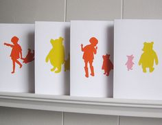 Winnie the Pooh Cards Ed 3  Handcut Paper Set of 4 by valeriejauma