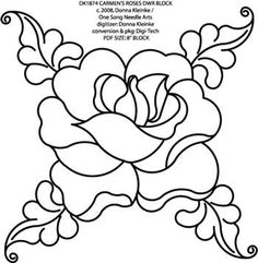 DK1874 Carmen's Roses Double Wedding Ring ( DWR ) Motif by One Song Needle Arts Quilting Stencils, Quilting Templates, Machine Quilting Designs, Applique Patterns, Quilt Patterns, Beaded Embroidery, Embroidery Designs, Wedding Ring Quilt, Quilt Stitching