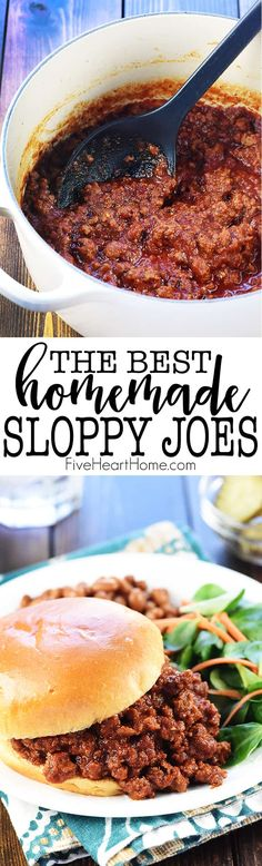 The BEST Homemade Sloppy Joes ~ delicious as well as quick and easy to make usin. - Sloppy Joe The BEST Homemade Sloppy Joes ~ delicious as well as quick and easy to make usin. Best Beef Recipes, Ground Beef Recipes, Real Food Recipes, Cooking Recipes, Yummy Food, Favorite Recipes, Hamburger Recipes, Budget Recipes, Family Recipes
