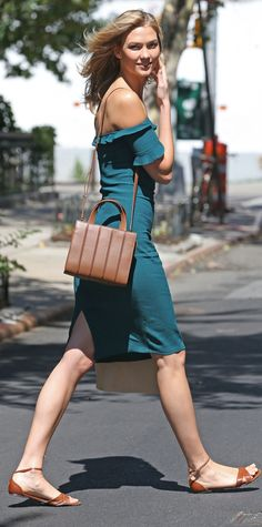 Look of the Day - July 25, 2015 - EXCLUSIVE: Karlie Kloss steps out wearing a green Off the Shoulder Dress from #InStyle