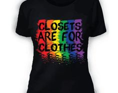 Items similar to LGBT Gay Pride Shirt Closets Are For Clothes- Rainbow - Gay Pride - Black on Etsy Pride Outfit, Gay Outfit, Lesbian Outfits, Emo Outfits, Gay Pride Shirts, T Shirt Noir, Lesbian Pride, Pride Parade, Rainbow Pride