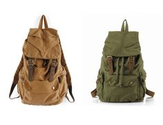 Vintage Canvas Cow Leather Hiking Travel Military Backpack Bag Rucksack GL Sale