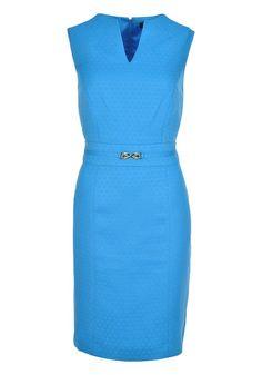 ARTHUR S. LEVINE EMBOSSED SHIFT DRESS - MEDITERRANEAN BLUE