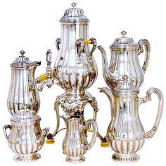 Tetard French Sterling Silver Tea Set, Chocolate Pot, Teapot, Coffee Pot, circa 1900.