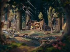 Let's rank some of the Disney cottages in a completely meaningless exercise of silliness. Disney Background, Cartoon Background, Animation Background, Background Vintage, Old Disney, Disney Art, Vintage Disney, Snow White Wallpaper, Forest Cartoon