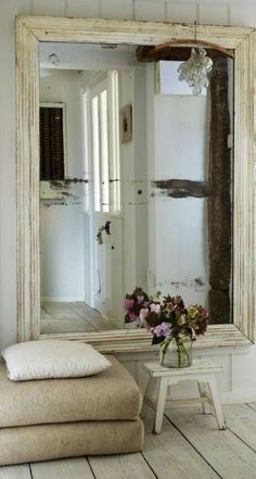 miroir… Love a big mirror with a vintage looking frame. Charlotte and Anna would love to dance in front of one :) House Of Mirrors, Vintage Frames, Vintage Decor, Rustic Decor, Vintage Mirrors, Vintage Stuff, Hallway Mirror, Floor Mirror, Magic Mirror