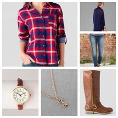 Medina Solid Wrap in Navy, Desoto Plaid Buttoned Top, Harper Ultra Skinny Jean in Medium Blue, Melanie Zipper Boot, Lockhart Key Pendant Necklace, and a Portland Antique Inspired Mini Watch