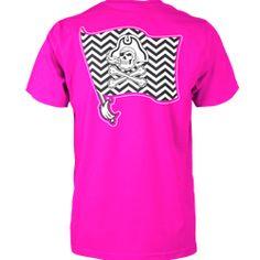 East Carolina Comfort Colors Chevron T-shirt (Neon Pink)