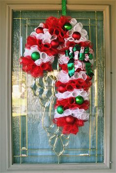 Handmade Home Decor, Handmade Shop, Etsy Handmade, Home Decor Items, Christmas Wreaths For Front Door, Wreaths For Sale, Door Wreaths, Red Led Lights, Candy Cane Wreath