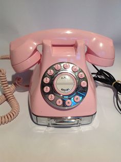 Vintage pale pink push button phone.  Retro telephone. on Etsy, $75.00