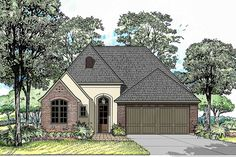 Get a big open floor plan with a large archway separating the living room from the kitchen and dining area in this petite Southern house plan.. On center of the arch is the fireplace and the kitchen island.The home is just the right size to be easy to clean and maintain.With the master bedroom separated from the other bedrooms you have privacy and a quiet refuge.A generous rear porch open on two sides allows for natural light and air flow.