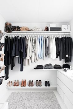 An organized closet with a color scheme