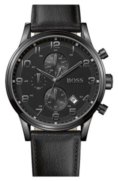 Free shipping and returns on BOSS HUGO BOSS Leather Strap Chronograph Watch, 44mm at Nordstrom.com. Clean lines distinguish a modern leather-strap watch featuring graphic numerals on a blacked-out chronograph dial.