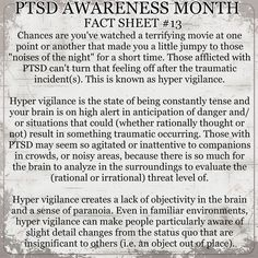 A fact sheet a day for June/PTSD Awareness Month - Hyper Vigilance. Please read and repost the PTSD facts. Awareness could save lives. Ptsd Awareness, Mental Health Awareness, Depression Awareness, Ptsd Quotes, Ptsd Symptoms, Under Your Spell, Stress Disorders, Mental Disorders, Health