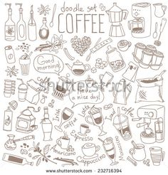 Set Of Doodles, Hand Drawn Rough Simple Coffee Theme Sketches, Various Kinds Of Coffee, Ingredients And Devices For Coffee Making. Vector Isolated On White Background For Cafe Menu, Fliers, Chalkboard - 232716394 : Shutterstock