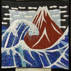 Katsushika Hokusai -inspired quilt by Hatsumi Kawakami. Quilt Inspiration: World Painter's Challenge, AQS 2016