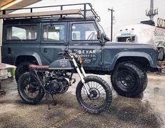 Dream Combo:  Honda CL175 by @coltwranglerco  @bexargoods Defender. :: #honda #cl175 #scrambler #landroverdefender #defender110