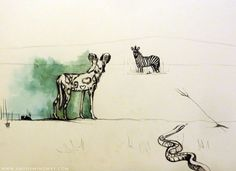 Painted dog, zebra and snake, African wildlife painting, drawing, art