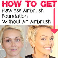 "How To Get Airbrush Perfect Skin Without An Airbrush -- Use ""airbrush"" make-up with synthetic brushes. There's a video with more info. Love Makeup, Makeup Tips, Makeup Looks, Airbrush Makeup Hacks, Amazing Makeup, Makeup Blog, Perfect Makeup, Makeup Products, Beauty Products"