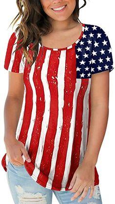 YOCheerful Womens Tops Cardigan Mesh Panel Blouse 3//4 Bell Sleeve Loose Top July 4th Shirt