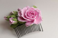Hair comb polymer clay flowers. Pink rose with by FloraAkkerman, $29.50