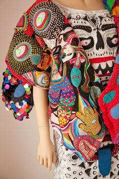 colorful  broderie embroidery textile