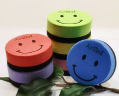 MAGNETIC White Board Eraser SMILEY 6 Colours