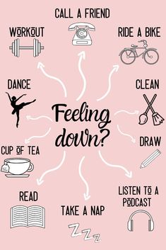 Mental health is SOO important. I have had my fair share of bad mental health days, weeks, and even months .When i'm feeling down, I try all of these things to help make myself feel better and more motivated!!